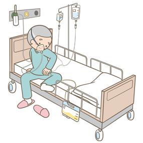 末梢静脈ルートやカテーテルなどが身体に絡まっているまま動こうとする患者のイラスト