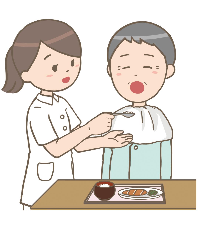 看護師が食事介助するイラストフリー素材看護rooカンゴルー