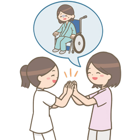 患者さんの回復を一緒に喜ぶ看護師のイラスト