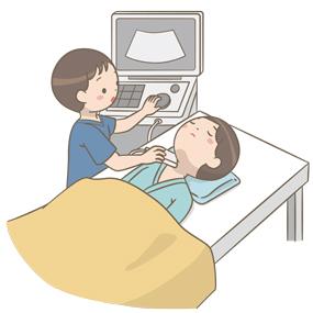 頸部エコー検査のイラスト