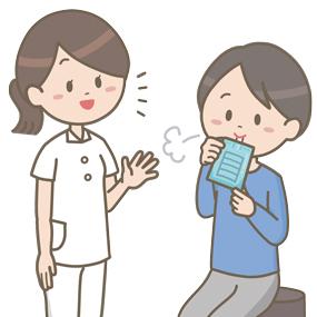 尿素呼気試験を受ける患者のイラスト
