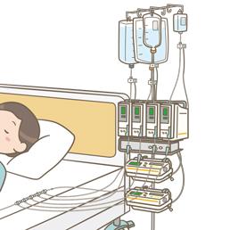複数台の輸液ポンプ・シリンジポンプを使用している患者のイラスト