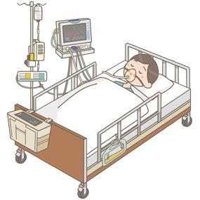 ベッドサイドモニター・膀胱留置カテーテル・輸液ポンプ・シリンジポンプ・酸素マスクを着用したイラスト