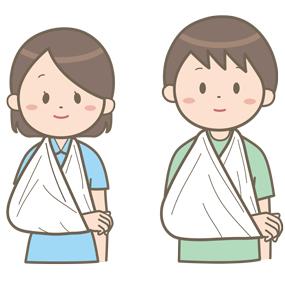 患肢を三角巾で固定している患者さん(男性・女性)のイラスト