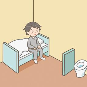 精神科病棟の隔離室(保護室)にいる患者のイラスト