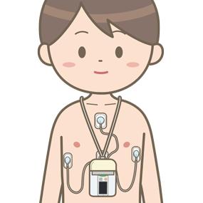 携帯用心電図をつけている患者さんのイラスト