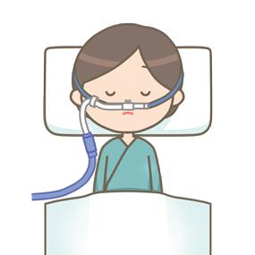 高流量式鼻カヌラ酸素療法を受けている患者のイラスト