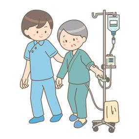 術後、ドレーンが入った状態で゙病棟内を歩行練習している患者さんと理学療法士のイラスト