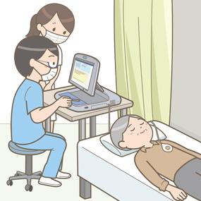 臨床工学士からペースメーカチェックを受ける患者さんのイラスト