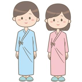 浴衣タイプの病衣を着ている患者のイラスト