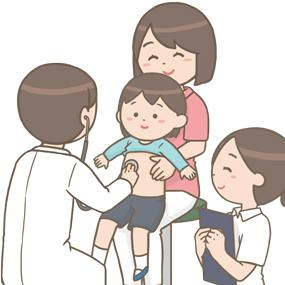 小児科での診察のイラスト
