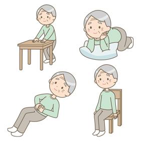 骨盤底筋体操を行う高齢男性のイラスト