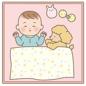 ペットと一緒に寝ている赤ちゃんのイラスト