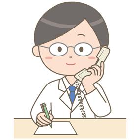 医師が固定電話を使用しているイラスト