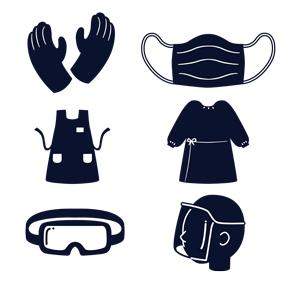 手袋、マスク、エプロン、ガウン、ゴーグル、フェイスシールド(ピクトグラム)のイラスト