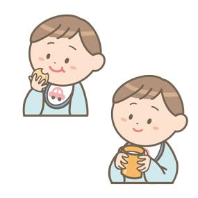 食行動の自立過程(1歳まで)のイラスト