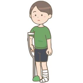 足にギプスを固定し松葉杖を使う人のイラスト