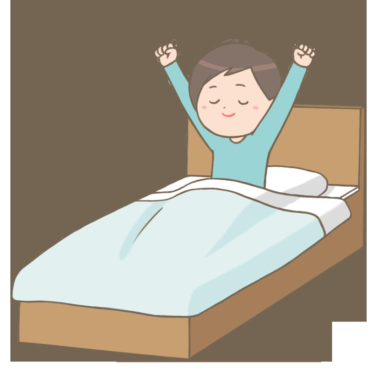 快眠で目を覚ます男性のイラストフリー素材看護rooカンゴルー