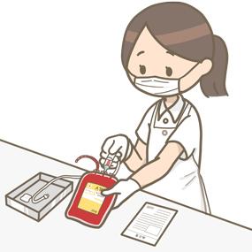 輸血の準備をする看護師のイラスト