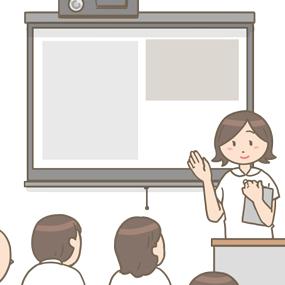 看護師がモニターの前でプレゼンをしているイラストです。院内の勉強会の様子です。