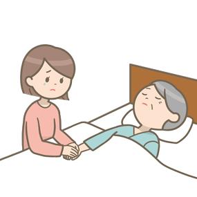 亡くなった患者さんの手をご家族が握っているイラスト