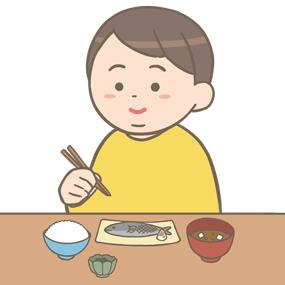 メタボの人が食事に気をつけているイラスト
