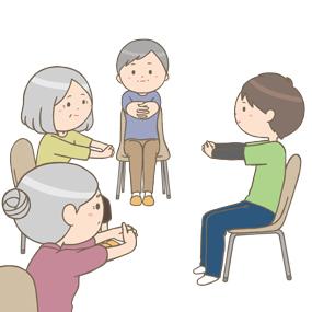 高齢者さんの介護予防体操教室のイラスト