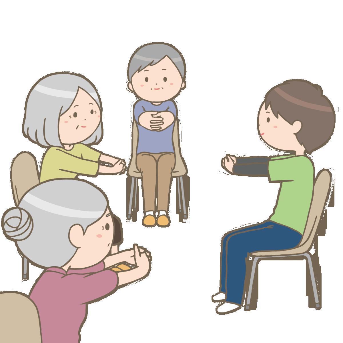 高齢者さんの介護予防体操教室のイラストフリー素材看護roo