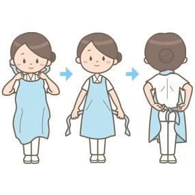 看護師がビニールエプロンを装着する手順を表したイラスト