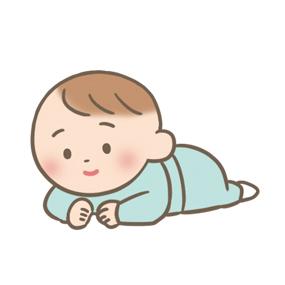 うつぶせで顔を上げている赤ちゃんのイラスト