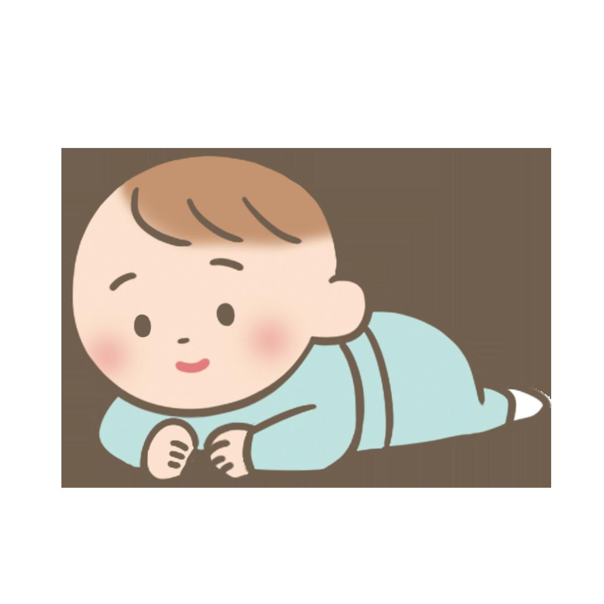 うつぶせで顔を上げている赤ちゃんのイラストフリー素材看護roo