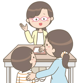 保健師さん(または臨床心理士さんなど)が親子カウンセリングをしているイラスト