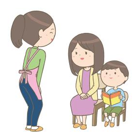 お母さんと子供と話し合いをする保健師さんのイラスト