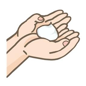 泡洗浄のためにふわふわの泡を手のひらに乗せているイラスト