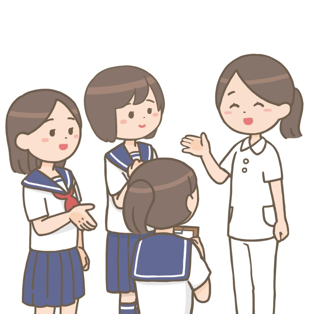 看護師に女子中学生が質問しているイラストフリー素材看護roo