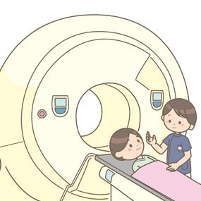 放射線治療のイラストです。がん等、病気の治療をしたり痛みを緩和します。