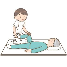 ベッドで下肢のリハビリを受けている患者のイラスト