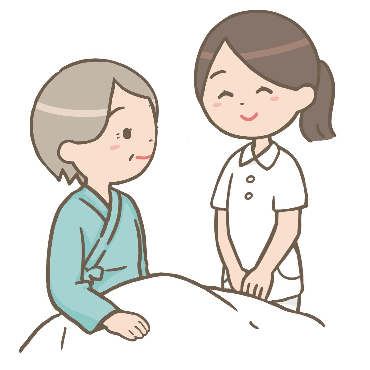 看護師がベットサイドに立っているイラストフリー素材看護roo