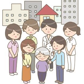 地域連携のイラストです。患者さんやそのご家族、医師と看護師、医療従事者が笑顔で立っています。
