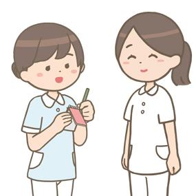 女性の看護学生さんが看護師さんに報告をしている場面のイラストです。メモを見ながら、丁寧に説明をしています。