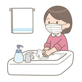 マスクを装着した女の子が手洗いをしているイラスト