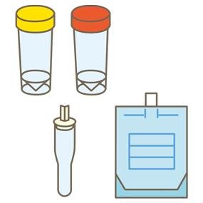 検体容器のイラスト(検便容器、検痰容器、呼気バッグ)