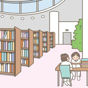 看護学校の図書室のイラストです。看護学生が読書や勉強をしています。