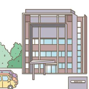 看護学校の駐車場のイラスト