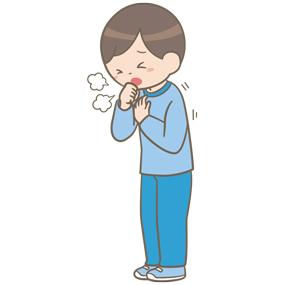 咳をしている学童(男子)のイラスト