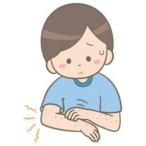 発疹が出ている学童(男子)のイラスト