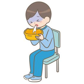嘔吐をする学童(男子)のイラスト