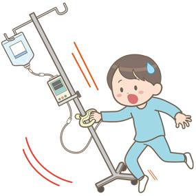 輸液ポンプ使用中の小児(学童)がつまづいて転倒しそうなイラスト