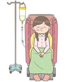 経鼻経管栄養中の学童のイラスト