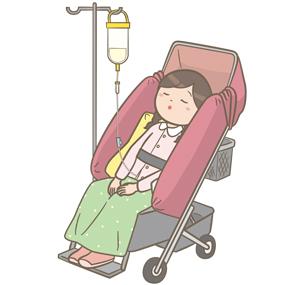 胃ろう・腸ろうから経管栄養を注入する学童のイラスト
